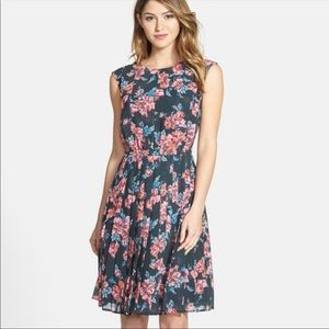Halogen Floral Fit and Flare Pleated Dress